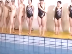 Naked synchro swimmers