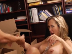 Mid age blonde teacher with tight fake boobs Brandi Love is making her young student guy Bruce Ven.