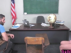 Teenage schoolgirl assfucked and facialized at detention