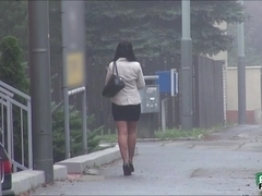Hot Terra Sweet gets picked up outside by a dude on a rainy day