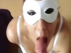 girl girl blows with the face mask