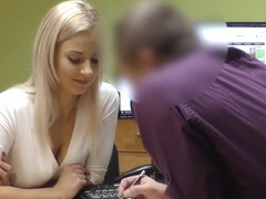LOAN4K. Blonde lassie gives herself to agent in office in loan porn