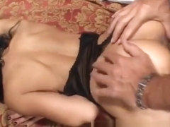 Kinky mature Asian lady taking a young man's shaft up her tight butt