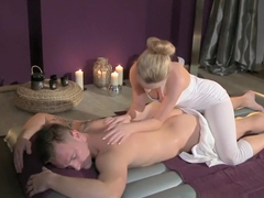 Massage Rooms Teen beauty gets a hard pounding and her bum covered in cum