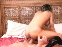 Alluring brunette with perfect body gets her pussy fucked hard