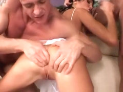 Slender brunette Sarah invites three hung dudes to satisfy her urges