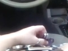 Enchanting my shaved cum-aperture with diminutive sex tool during the time that riding car