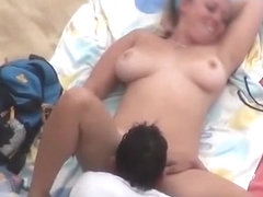 Big tits woman fucked in the beach