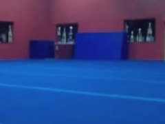 Naked gymnastic session at the gym and jerking off