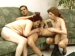 Charming stud feels so hungry that he fucks two old witches with hairy cunts