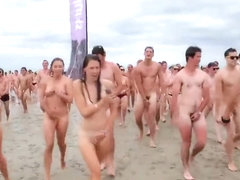 Naked Canadian students having tremendous fun at the beach