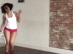 Sexy girl in micro-shorts dancing