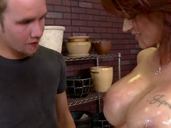 Superb chance to push dick on oily Joslyn James' jugs