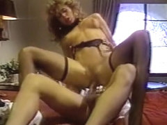 Vintage video of a babe in a garter belt gets eaten out and fucked