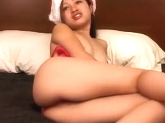 In her sexy Christmas underwear, Teana Tsoi displays her hot slim body
