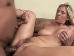 Desirable blonde with big boobs does everything to a huge black cock