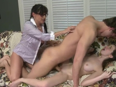 Hot threesome scene with the Jeremy Austin, mother and daughter