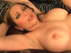 Naughty brunette does blowjob and her pussy is drilled