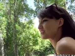 Euro teen beauty deep throats in public