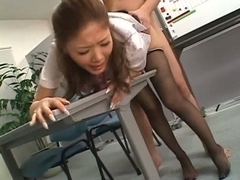 Asian office girl in pantyhose gets fucked