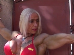 Muscular girl having sex