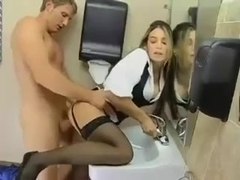 Office Slut Takes it in the Bathroom