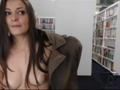Webcam clip of a hottie masturbating in library